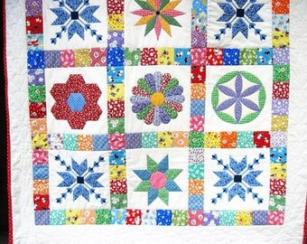 Baby Patchwork Quilt Retro  Quilted Wall Hanging  Thirties baby quilt  stroller blanket Crib Quiltsy handmade