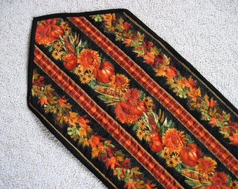 Quilted table runner Fall Pumpkins Leaves orange black  Quiltsy handmade