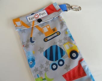 Epi Pen Pouch 4x8 Holds 2 Allergy Pens w/ Clear Pocket and Clip ID Card Included - Boys Dump Truck Construction Fabric