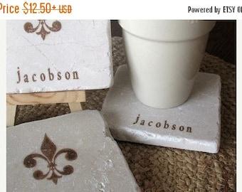 XMASINJULYSale Tile Drink Coasters - Personalized Fleur de Lis Drink Holders - Absorbent Coaster - French Home Decor