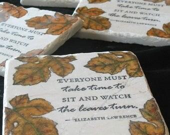 XMASINJULYSale Fall Coasters - Autumn Leaves Absorbent Tile Coasters - Fall Home Decor - Housewarming Gift