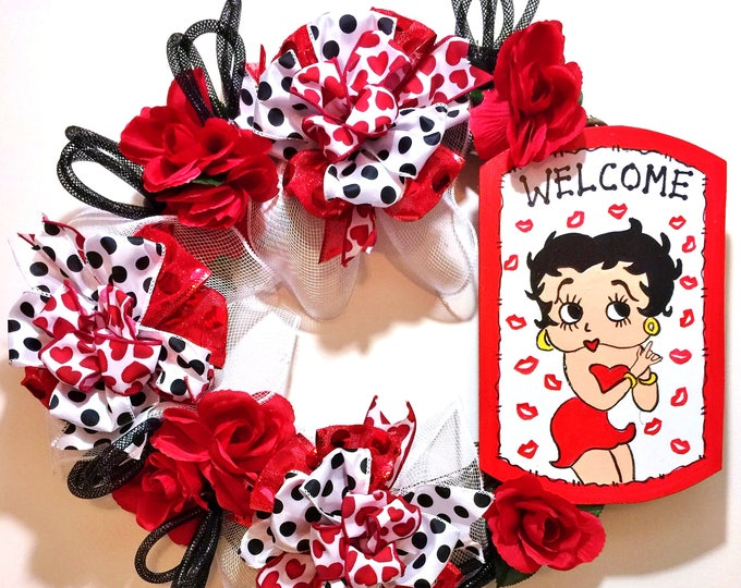 FREE SHIPPING Betty Boop Red White Black Kisses Hearts - Welcome Door Grapevine Wreath