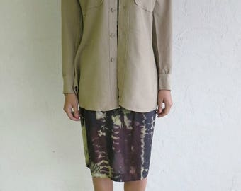 40% SUMMER SALE Taupe Army Button Up Shirt