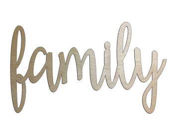 "Unfinished Wood family Name Sign 17"" x 29""  Wall Decor Calligraphy"