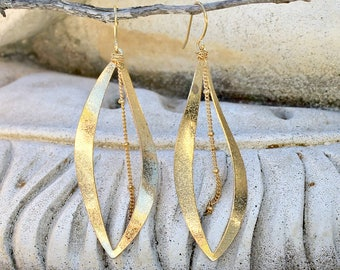 Gold Dangle Chandelier Earrings, Leaf, Chain, Bohemian Jewelry