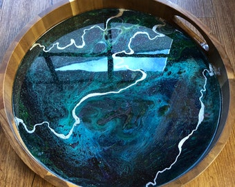 Turquoise and Silver Resin and Wood Tray with Silver Leaf