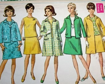 """Vintage 1960s Sewing Pattern, Simplicity 7543, Misses' Coat, Jacket, Overblouse and Skirt, Misses' Size 12, Bust 34"""""""