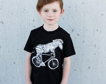 SUMMER SALE Zebra on a Bicycle- Kids T Shirt, Children Tee, Tri Blend Tee, Handmade graphic tee, sizes 2-12