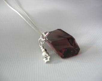 Swarovski Crystal Pendant, Plum Burgundy, Cubist, Silver Ball Charm, Sterling Box Chain, Unique Gift for Her