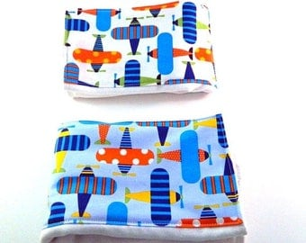 SALE Airplanes Burp Cloth Boy - Blue, Green, & Orange on White or Blue / Baby Shower Gift