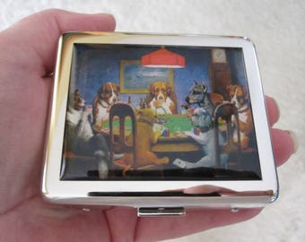 Dogs Playing Poker 8 Day Pill Box with Mirror