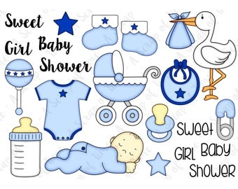 Baby Boy Hand Drawn Digital Clipart - Set of 21 - Stork, Pacifier, Bottle, Onesie, Stroller - Instant Download - Item# 9173