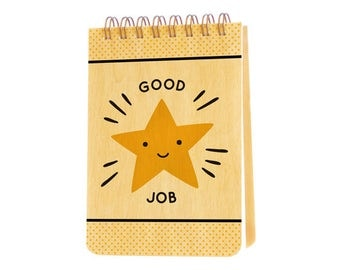 gold star mini notepad with real birch wood covers - jotter - small notebook - j1937