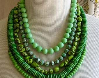 XMAS in JULY SALE Chunky Bright Green Layered Multi Strand Beaded New Grass Stament Necklace