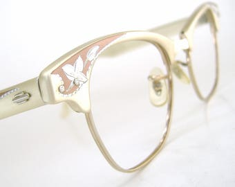 Vintage Cat Eye Eyeglasses Frame Decorative Flower Art Craft