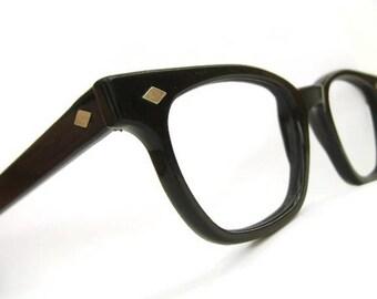 Vintage Mens Horn Rimmed Eyeglasses or Sunglasses Criss Nylon Frame NOS
