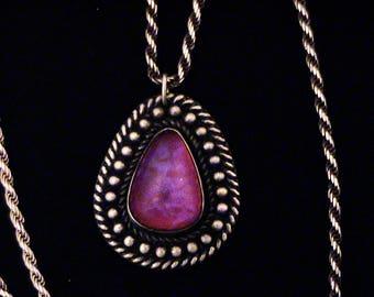 Vintage Dragon's Breath Glass Cabochon Sterling Pendant Necklace