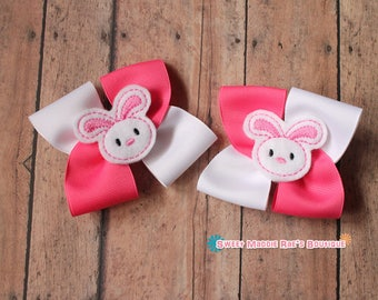 Girls Hair Bows--Pink and White Bunny Bows