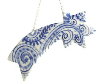 Shooting  Star - Delft Blue  - Hand painted  Blue and white Delftware  porcelain Christmas Decoration