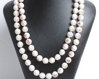 White Beads with Pink Flowers Necklace Extra Long  42 Inches Flapper Length Vintage