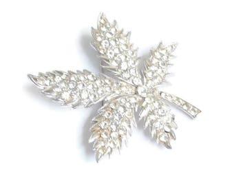 Clear Crystal Rhinestone Leaf Shaped Brooch Unsigned ORA Vintage
