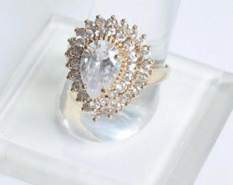 Gold Plated CZ Ring HGE  Statement Cocktail Dinner Ring Signed LIND