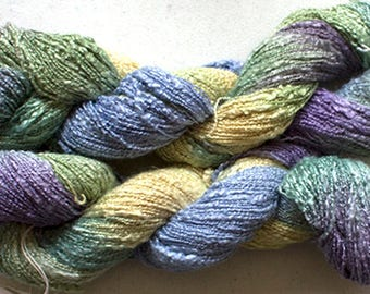 Jewel Twist, Hand-dyed Fine Rayon Boucle Yarn, 225 yds - Pansy Garden