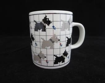Vintage Scottie Dog Mug Cup - Scottish Terrier Dog Mug - Pixelated Scottish Black & Gray Dogs - Otagiri Japan