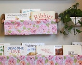 Rose Book Sling and Wooden Brackets - Large Pink And Orange Rose Floral - Wall Organizer- Choose your size