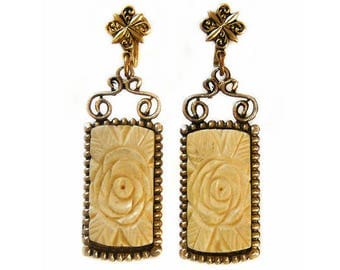 1950s Oriental Floral Cream Carved Stone Drop Dangle Vintage Screw Back Earrings Signed Japan
