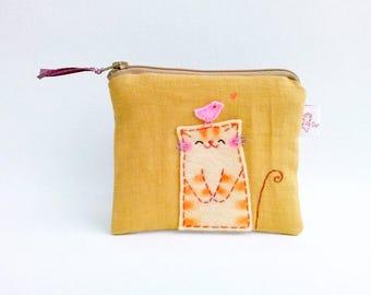 Cat coin purse, cute zipper pouch, zipper wallet, card wallet, change pouch, cat pouch, cat lover gift, coin purse, credit card pouch, pouch