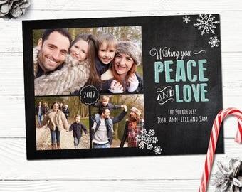 Peace Christmas Photo Card Printable, Custom Chalkboard Holiday Photo card