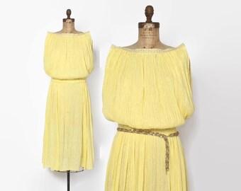 Vintage 70s Gauze DRESS / 1970s Metallic Gold & Yellow Cotton Grecian Midi Dress
