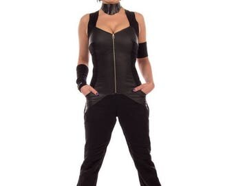 ON SALE Assassin, black sexy anime inspired jumpsuit romper by Plastik Wrap, fetish, goth fashion.