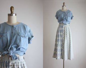 denim smock blouse