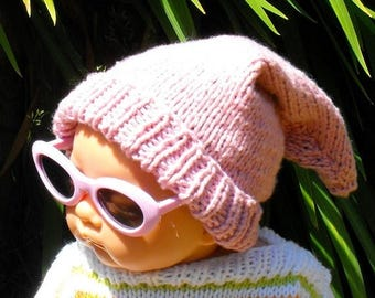 50% OFF SALE Instant Digital File PDF Download Knitting pattern -Baby Pink Pixie Hat knitting pattern pdf download by madmonkeyknits