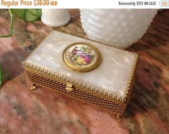 Christmas Sale Vintage Music Box Jewelry Gold Filigree Mother Of Pearl 1960s Victorian Fragonaro Porcelain Center Scene