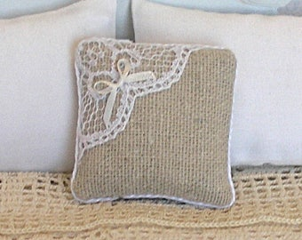 1:12 Pillow - Homespun + Silk Bow + Lace - Handmade Dollhouse Scale Miniature - Shabby Cottage *Free Shipping*