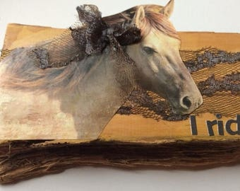 On Sale Mixed media art work. Huon pine canvas collage. Equine love. Horses.