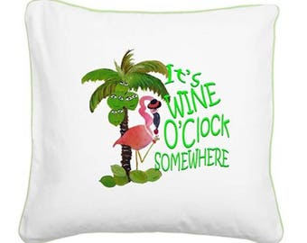 It's Wine O'Clock Somewhere throw pillow