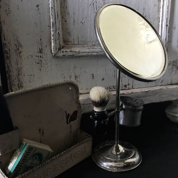 Shabby shaving set,  Antique Mirror