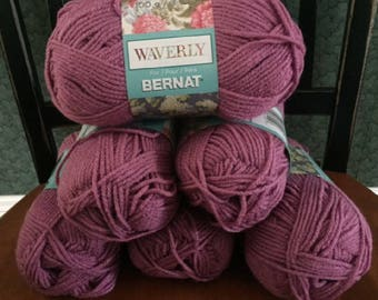 lot of 6 Bernat Waverly soft worsted category 4 yarn MAUVE GLOW pink 3.5 ounces 197 yards acrylic skein knitting crochet discontinued new