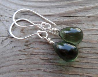 Smooth Green Fluorite Teardrop Gemstone and Fine Silver Dangle Earrings