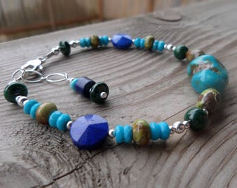 Master Healer-Malachite, Genuine Gaspiete, Sleeping Beauty Turquoise, and Lapis Gemstone and Sterling Silver Bracelet
