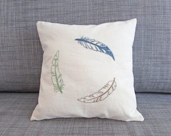 organic pillow cover, feathers pillow, boho decor, tribal decor, hand embroidered