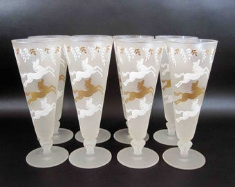 Vintage Libbey Frosted Horse Pilsner Glasses Set of 8. Circa 1950's.