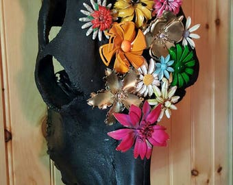 Cow Skull Assemblage Black With Vintage Colorful Enamel Flower Brooches from Rustysecrets