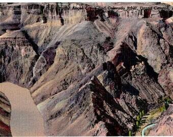 Vintage Arizona Postcard - Bright Angel Creek and Colorado River at the Grand Canyon (Unused)