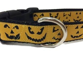 Halloween Dog Collar, Jack O Lantern, 1 inch wide, adjustable, quick release, metal buckle, martingale, chain, nylon