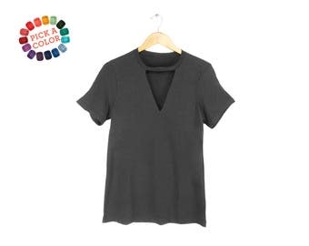 Cutout Deep V-Neck Tee - Choker T-shirt, Loose Fit Tshirt, Keyhole Top in Dark Grey or Pick a Custom Color - Women's Size S-3XL